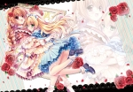 Konachan.com - 204744 2girls blonde_hair braids byruu flowers green_eyes headband hug long_hair original red_eyes rose shoujo_ai skirt socks wristwear zoom_layer