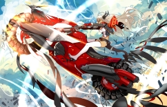 Konachan.com - 205537 gloves horns long_hair motorcycle pixiv_fantasia realmbw thighhighs