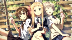 Konachan.com - 205571 blonde_hair braids brown_eyes brown_hair gray_hair green_eyes ice_cream leaves long_hair original ponytail popsicle seifuku short_hair summer