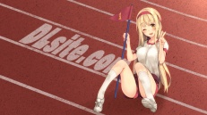 Konachan.com - 205589 blonde_hair blush dille_blood dlsite.com gym_uniform headband kneehighs long_hair original paseri wink yellow_eyes