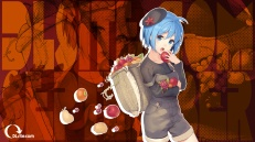 Konachan.com - 205590 apple autumn blue_eyes blue_hair dlsite.com elle_sweet food fruit original paseri short_hair shorts zoom_layer
