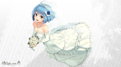 Konachan.com - 205593 blue_eyes blue_hair blush breasts cleavage dlsite.com elle_sweet flowers necklace original paseri short_hair wedding_attire