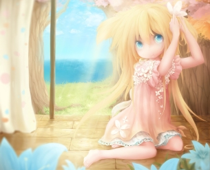 Konachan.com - 205944 barefoot blonde_hair blue_eyes chameko doggirl dress flowers kukki_(manahui) original