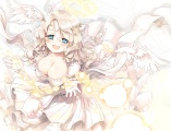 Konachan.com - 205999 angel aqua_eyes breasts cleavage dress elbow_gloves halo naka_akira original wings