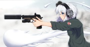 Konachan.com - 225384 blue_eyes gun headband headphones konpaku_youmu myon sasa_(weldan6) short_hair touhou weapon white_hair
