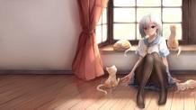 konachan-com-228879-animal-blue_eyes-cat-gray_hair-hamakaze_kancolle-kantai_collection-nicoby-pantyhose-reflection-seifuku-short_hair