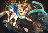 Konachan.com - 230496 aqua_hair choker dress flowers hatsune_miku horns knife long_hair necklace pink_eyes spear twintails verus vocaloid weapon wristwear