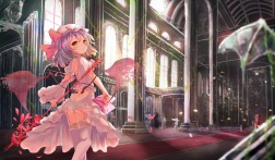 Konachan.com - 231971 aliasing ass dress garter_belt ging1993 loli petals purple_hair red_eyes remilia_scarlet short_hair touhou vampire weapon wings