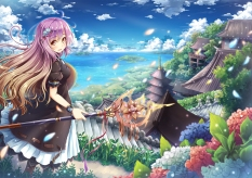 Konachan.com - 232718 akashio brown_eyes building clouds dress flowers grass hijiri_byakuren long_hair petals purple_hair ribbons sky staff touhou water weapon