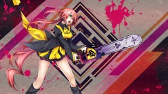 Konachan.com - 233293 chainsaw dress green_eyes kneehighs long_hair tagme tagme_(character) toudou_charo utau weapon