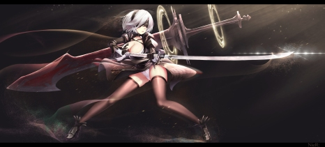 Konachan.com - 233358 cleavage dk_senie dress gloves gray_hair katana nier panties short_hair sword tears thighhighs underwear weapon white_hair