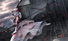 Konachan.com - 233620 clouds dress gray_hair hat petals red_eyes remilia_scarlet ryosios short_hair sky spear touhou vampire weapon wings
