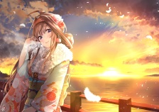 konachan-com-233664-brown_hair-clouds-feathers-headband-japanese_clothes-kantai_collection-kimono-kongou_kancolle-long_hair-signed