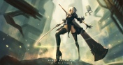 Konachan.com - 234055 blindfold breasts building city dress elbow_gloves gloves gray_hair jpeg_artifacts nguyen_uy_vu petals robot short_hair sword thighhighs weapon