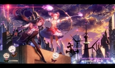 Konachan.com - 234303 building city clouds dress headband kneehighs long_hair majiang pantyhose pink_eyes pink_hair ribbons sky twintails weapon