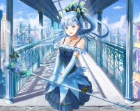 Konachan.com - 234583 animal aqua_eyes aqua_hair bird braids building city clouds cropped dress elbow_gloves gloves long_hair necklace original ponytail sky weapon