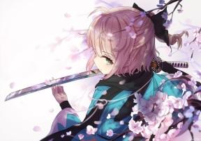 konachan-com-234613-blonde_hair-close-fate_series-green_eyes-katana-kimono-petals-ponytail-reflection-saber-sakura_saber-scarf-short_hair-signed-sword-weapon