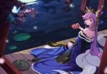 konachan-com-234766-animal_ears-bao_nuan-bell-breasts-butterfly-cherry_blossoms-drink-fate_extra-fate_series-foxgirl-long_hair-petals-purple_hair-water-yellow_eyes
