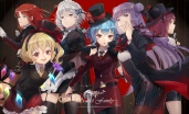 Konachan.com - 234800 gray_hair group hat koakuma long_hair pantyhose red_eyes red_hair ribbons skirt tie touhou umbrella vampire weapon wings