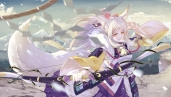 Konachan.com - 234861 aliasing animal_ears bai_lang blonde_hair bow_(weapon) clouds dress long_hair onmyoji shan-n sky tail weapon wolfgirl yellow_eyes