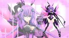 Konachan.com - 236100 breasts cleavage cundodeviant long_hair neptune purple_hair purple_heart signed thighhighs twintails weapon wing zoom_layer