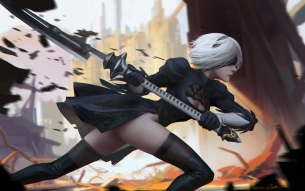 Konachan.com - 237453 ass blindfold breasts dress gloves gray_hair headband nier nier-_automata nopan qichao_wang short_hair signed sword thighhighs weapon