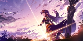 Konachan.com - 237723 aliasing clouds gloves headband konno_yuuki kyokucho long_hair orange_eyes pointed_ears purple_hair sky sunset sword sword_art_online weapon