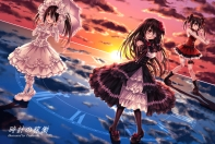 Konachan.com - 237747 bandage boots bow clouds dress eyepatch garter gloves goth-loli gun headdress long_hair pantyhose ribbons sky sunset tsubasaki twintails weapon