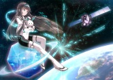 Konachan.com - 206231 black_hair bodysuit long_hair space stars tagme tagme_(artist)