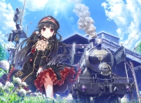 Konachan.com - 206772 animal bird black_hair building cura flowers hat long_hair lose red_eyes train uniform