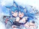 Konachan.com - 226606 2girls akkijin animal_ears aqua_eyes aqua_hair fang gloves hug loli long_hair skoll_(valkyrie_crusade) tail valkyrie_crusade