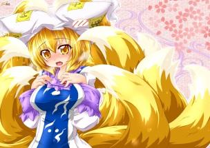 Konachan.com - 231690 animal_ears blonde_hair blush breasts fang foxgirl hat kazami_karasu multiple_tails short_hair tail tears touhou yakumo_ran yellow_eyes