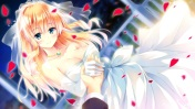 Konachan.com - 206955 blonde_hair blue_eyes breasts cleavage elbow_gloves game_cg golden_marriage hayakawa_harui necklace night petals wedding wedding_attire