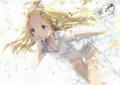 Konachan.com - 207049 anmi anthropomorphism blonde_hair blue_eyes breasts bubbles cleavage original scan underwater water