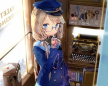 Konachan.com - 207050 anmi blonde_hair blue_eyes book cropped glasses hat phone scan uniform