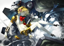 Konachan.com - 207076 aegis arisato_minato blonde_hair blue_hair chain headphones male persona persona_3 robot saberiii short_hair thanatos