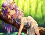 Konachan.com - 207099 angel_beats! cropped dress flowers goto_p headdress purple_hair scan tachibana_kanade yellow_eyes