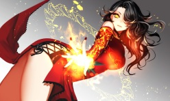 Konachan.com - 207655 black_hair chinese_clothes cinder_fall dress fire long_hair magic rwby ut_(apt) yellow_eyes