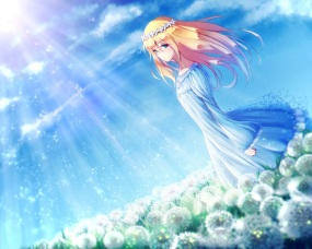 Konachan.com - 207752 blonde_hair dress fal grass long_hair original sky