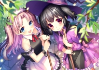 Konachan.com - 208141 2girls abondz black_hair blue_eyes hat jpeg_artifacts maaryan maid pink_hair red_eyes signed to_heart to_heart_2 witch yuzuhara_konomi