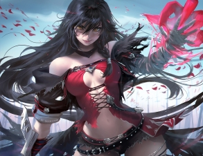 Konachan.com - 236168 bandage black_hair breasts cleavage long_hair sakimichan tales_of_berseria velvet_crowe watermark yellow_eyes
