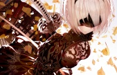Konachan.com - 238325 atha blindfold breasts nier nier-_automata petals short_hair sword weapon yorha_unit_no._2_type_b