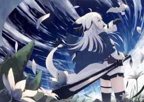 Konachan.com - 238364 animal bird brown_eyes butterfly clouds flowers foxgirl gloves long_hair original petals shorts sky sword tail thighhighs weapon white_hair