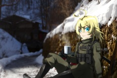 Konachan.com - 239042 aqua_eyes blonde_hair boots drink genya67 gloves military short_hair tanya_degurechaff weapon youjo_senki