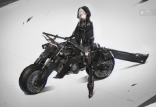 Konachan.com - 239130 gloves gray_hair green_eyes motorcycle original short_hair skirt sword thighhighs weapon yucca-612