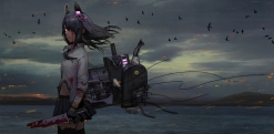 Konachan.com - 239218 animal anthropomorphism bandage bird blood clouds kantai_collection navel skirt sky tenryuu_(kancolle) torn_clothes water weapon zettai_ryouiki