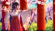 Konachan.com - 239426 black_hair bow_(weapon) cherry_blossoms haraguroi_you japanese_clothes long_hair miko original petals pink_eyes weapon