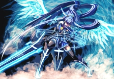 Konachan.com - 240010 aoki_reika blue_hair long_hair merontomari precure smile_precure! sword weapon wings