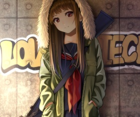 Konachan.com - 240415 brown_hair cropped graffiti gun hoodie kentaurosu long_hair original red_eyes seifuku waifu2x weapon