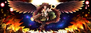 Konachan.com - 241093 brown_eyes brown_hair invidiata long_hair reiuji_utsuho thighhighs touhou weapon wings